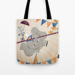 Elephant on tightrope Tote Bag