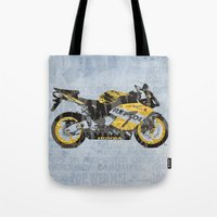 honda Tote Bags featuring Honda CBR1000 & Old Newspapers by Larsson Stevensem