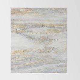 White Gold Marble Texture Throw Blanket