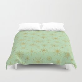 Snowflake Mandalas Mint Green Gold Duvet Cover