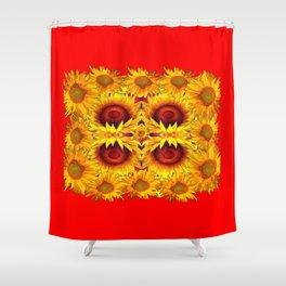 MODERN RED ART &  YELLOW  SUNFLOWERS DESIGN Shower Curtain