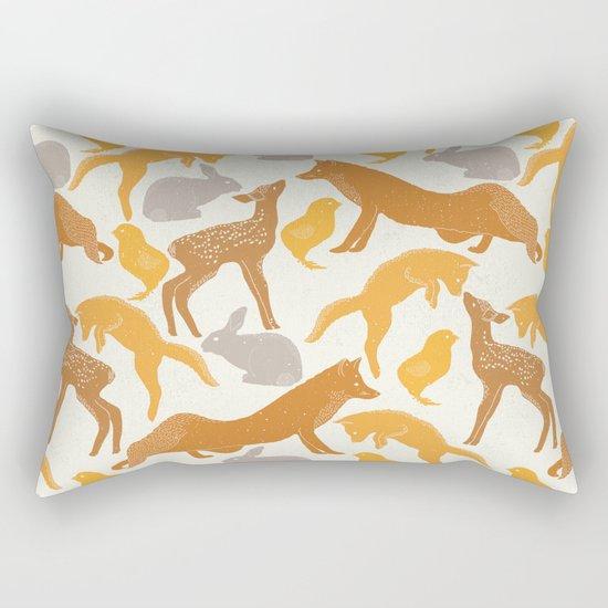 Deer Fox Rabbit Chick Playing Rectangular Pillow
