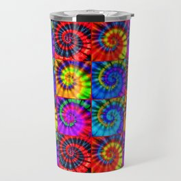 Spiral Tie Dye Checkerboard Travel Mug
