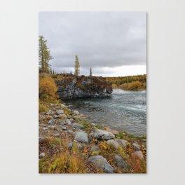 River of ural mountains. Sub-polar Ural. Canvas Print