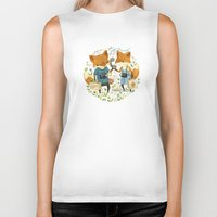whimsical Biker Tanks featuring Fox Friends by Teagan White