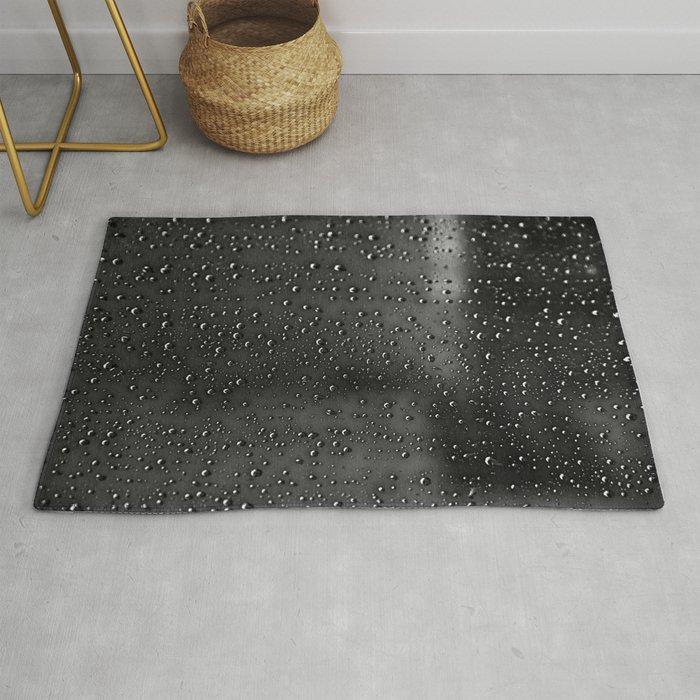 Black And White Rain Drops Abstract Rug By Shadesofgreen26