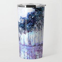 Monet : Poplars Lavender Periwinkle Deep Blue Travel Mug