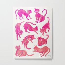 Cat Positions – Pink Ombré Palette Metal Print