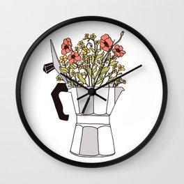 Moka Flowers Wall Clock