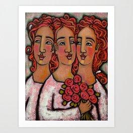 Trio Bridesmaids Art Print