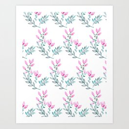 Pink and Green Watercolor  Floral Pattern Art Print