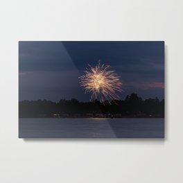 Fireworks Over Lake 3 Metal Print