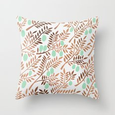 Olive Branches – Rose Gold & Mint Throw Pillow