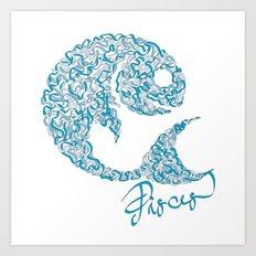 Pisces Line Art Print
