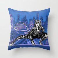 gotham Throw Pillows featuring Gotham Catgirl by Chelestino