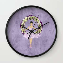 Ballerina Orchid Wreath Wall Clock