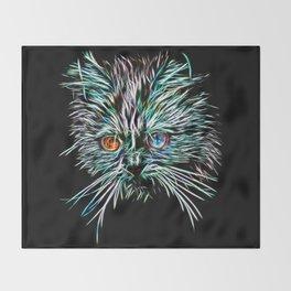 Odd-Eyed White Glowing Cat Throw Blanket