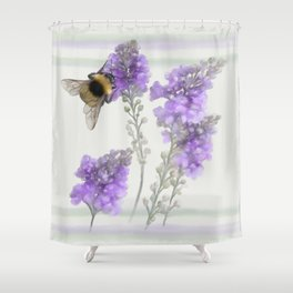 Watercolor Bumble Bee Shower Curtain
