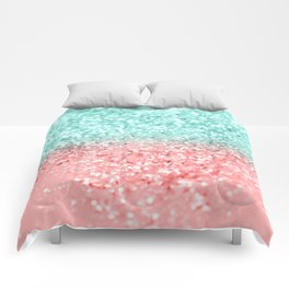 Summer Vibes Glitter #1 #coral #mint #shiny #decor #art #society6 Comforters