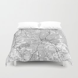 Dallas White Map Duvet Cover