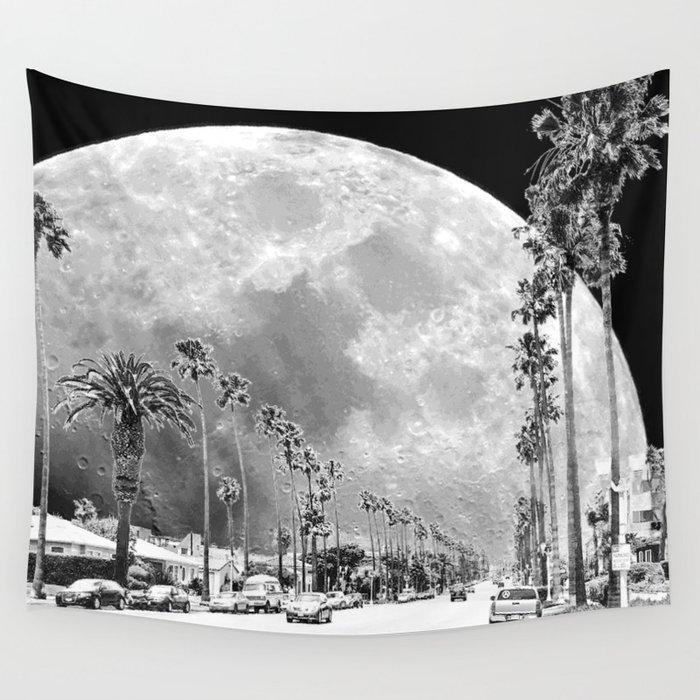 California Dream // Fantasy Moon Beach Sidewalk Black and White Palm Tree Silhouette Collage Artwork Wall Tapestry