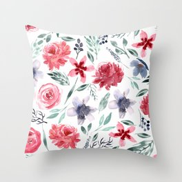 Moody Large Florals | Watercolor Throw Pillow
