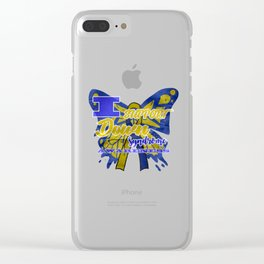 Down Syndrome Awareness Support Butterfly 21 Gift Clear iPhone Case