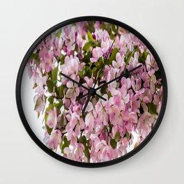 Cerise Flowers Wall Clock