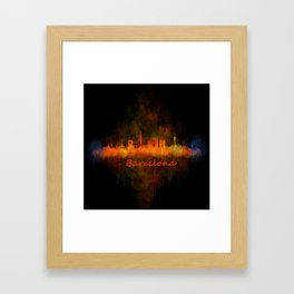 Barcelona City Skyline Hq _v4 Framed Art Print