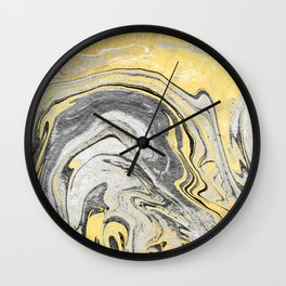 Reiko - gold grey black and white minimal marble abstract ink japanese modern monoprint art  Wall Clock