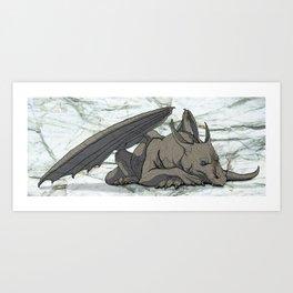 Grey Dragon Art Print