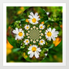 Magic Field Summer Grass - Chamomile Flower with Bug - Polarity #1 Brightly Art Print