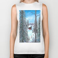 cabin Biker Tanks featuring Winter Cabin by Connie Campbell