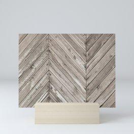 Herringbone Weathered Wood Texture Mini Art Print