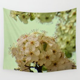 Spring Flowers on mint green background A377 Wall Tapestry