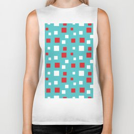 Red and White Squares on Blue Biker Tank