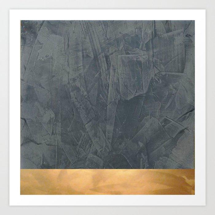 Slate Gray Stucco w Shiny Copper Metallic Trim Faux Finishes