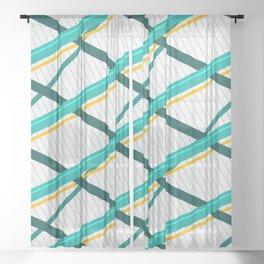 Deco Stripes Turqoise Sheer Curtain