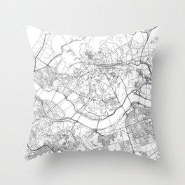 Seoul White Map Throw Pillow