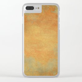 Grunge Garden Canvas Texture:  Ancient Gold Floral Abstract Clear iPhone Case