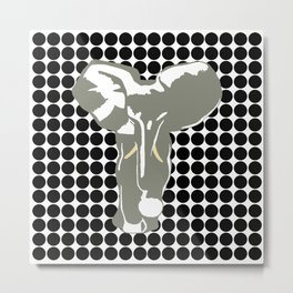 Black Safari Dot with Pop Art Elephant Metal Print