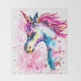 Pink Unicorn Throw Blanket
