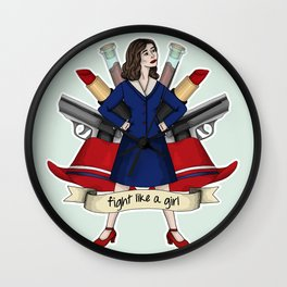 Fight like a Girl - Peggy Carter Wall Clock