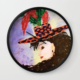 Madame Chapeau: Acrylic Painting of a woman with a charming hat Wall Clock