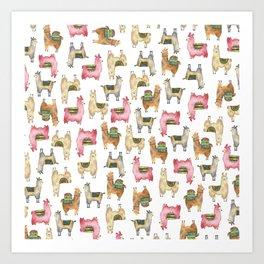Llama love / Alpaca adventure wanderlust travel / animal baby nursery gift for her shower decor Art Print