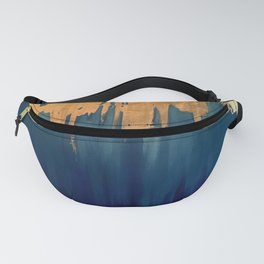 Gold Leaf & Blue Abstract Fanny Pack