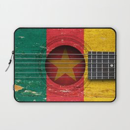 Old Vintage Acoustic Guitar with Cameroon Flag Laptop Sleeve