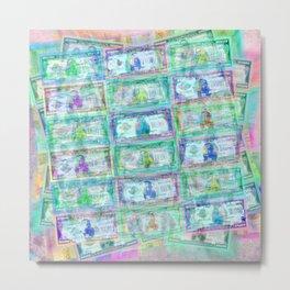 540 Million Dollars Blue Green Pastel Money Bling Cash Dollar Bills Loot Coin Metal Print