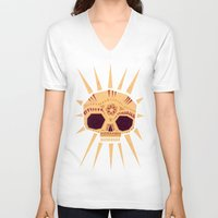 yetiland V-neck T-shirts featuring sugar skull by Yetiland