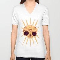 sugar skull V-neck T-shirts featuring sugar skull by Yetiland